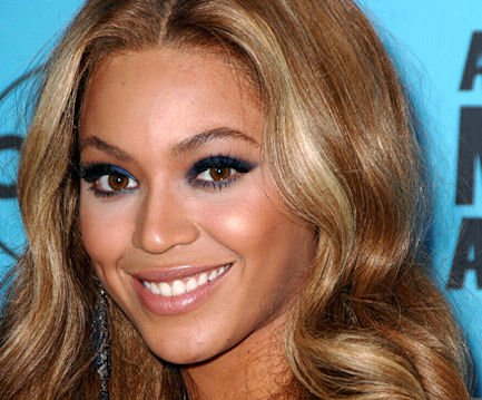 Beyonce on Blue Eyeliners