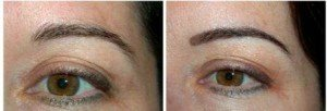 Eyebrow Tattoo - Soft Fill Technique Before and After Permanent Eyebrows (Not Healed)