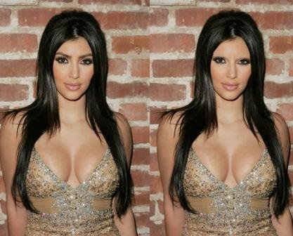 Kim Kardashian with and without eyebrows. She looks great with eyebrows