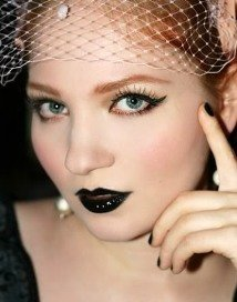 Black Lipstick - Wearing Winged Eyeliner and Black Lipstick