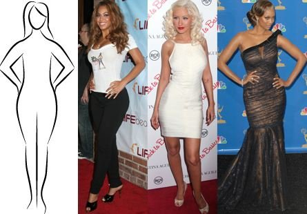 Celebrities with Pear Body Shape - Beyonce, Christina and Tyra Banks